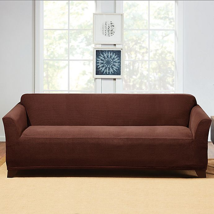 Alternate image 1 for Sure Fit® Hudson Stretch Sofa Slipcover in Chocolate