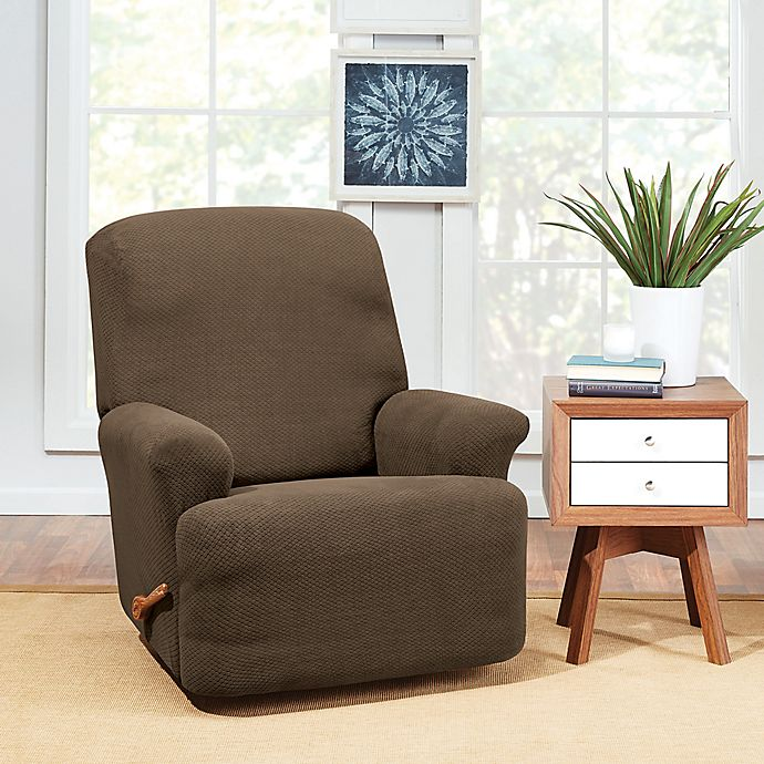 Alternate image 1 for Sure Fit® Hudson Stretch Recliner Slipcover in Taupe
