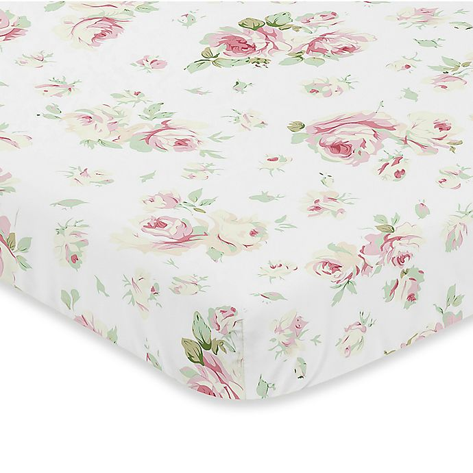 Alternate image 1 for Sweet Jojo Designs Riley's Roses Fitted Mini-Crib Sheet