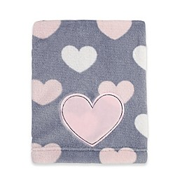 Little Love by NoJo® Hugs and Kisses Fleece Blanket in Grey/Pink