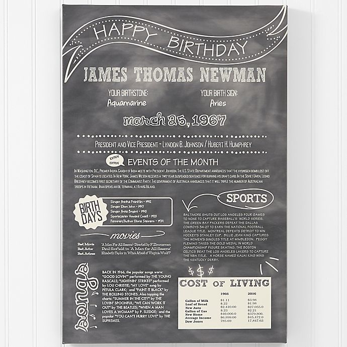 Alternate image 1 for The Day You Were Born Birthday History Canvas Print