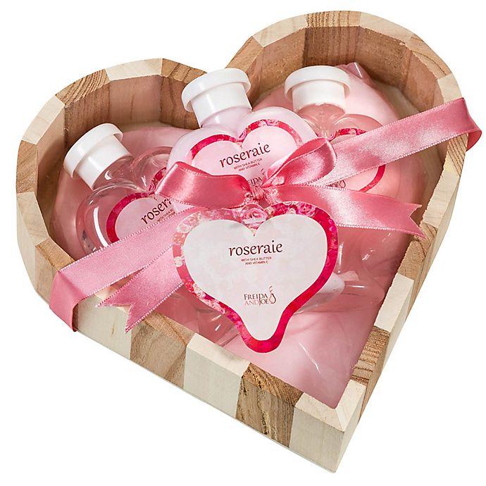 Alternate image 1 for Freida & Joe Pink Rose Heart Bath & Body Gift Set