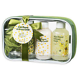 Freida & JoeWild Flower & Honey Comb Spa Bag Gift Set in Green