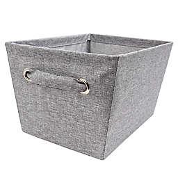 Medium Textured Canvas Storage Bin in Grey