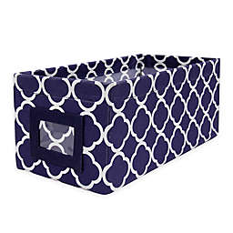 French Print Fabric Bin in Navy