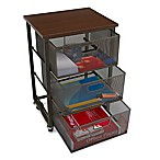 Mind Reader 3-Tier Metal Mesh Drawer Storage Cart in Black