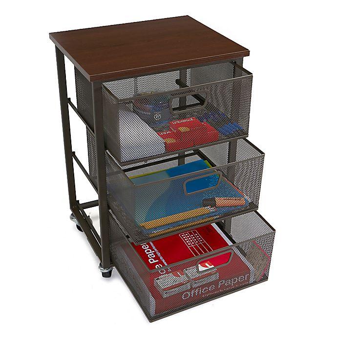 Alternate image 1 for Mind Reader 3-Tier Metal Mesh Drawer Storage Cart in Black
