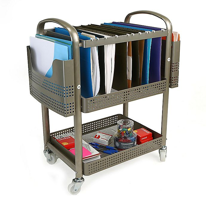 Alternate image 1 for Mind Reader Heavy Duty Mobile File Cart in Silver