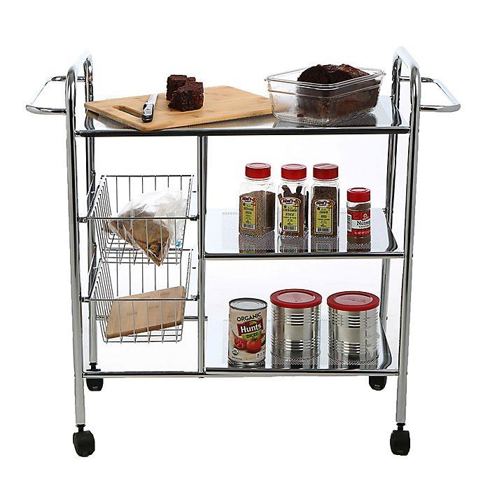 Alternate image 1 for Mind Reader Metal 3-Tier Kitchen Cart in Silver