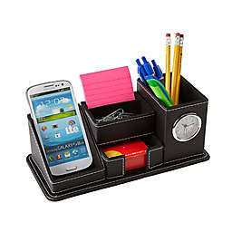 Mind Reader Faux Leather 5-Compartment Compact Desk Organizer in Black