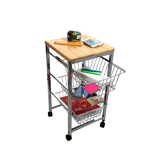 Mind Reader Wire Basket Kitchen Cart with Wood Surface in Silver