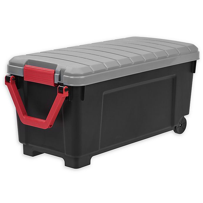 Alternate image 1 for IRIS® Store-It-All 169 qt. Plastic Rolling Storage Tote in Black