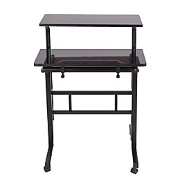 Mind Reader 2-Tier Standing Desk Roller in Black