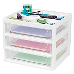IRIS® 3-Drawer Scrapbook Table Chest in White