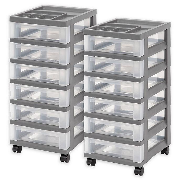 4-Drawer Storage Cart with Organizer Top IRIS USA Gray Set of 2 Inc
