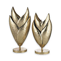 Sterling Industries Honeychaff 2-Piece Candle Holder Set in Gold