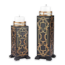 Sterling Industries Gatsby 2-Piece Candle Holder Set in Black