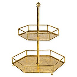 Kate and Laurel Felicia 2-Tiered Metal Tray in Gold