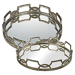 Sterling Industries Hucknall Iron Scroll Mirrored Tray in Deep Silver
