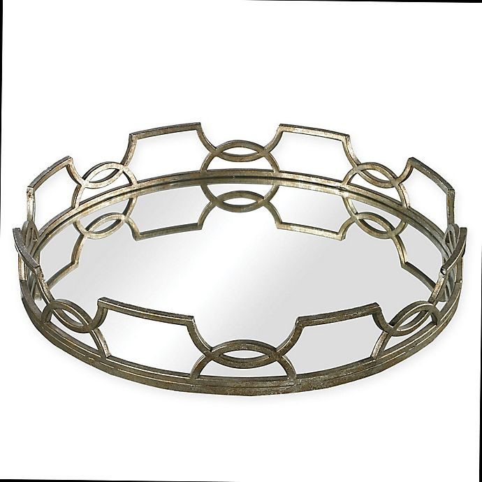 Alternate image 1 for Sterling Industries Hucknall Small Iron Scroll Mirrored Tray in Deep Silver