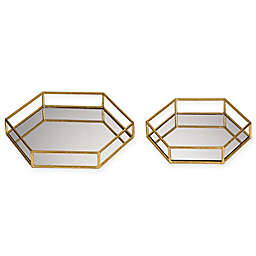 Sterling Industries Mirrored Hexagon Trays (Set of 2)