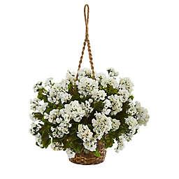 Nearly Natural 19-Inch Geranium Indoor/Outdoor Hanging Basket