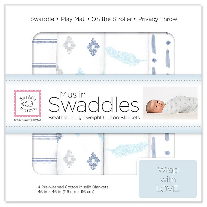 Alternate image 1 for SwaddleDesigns® 4-Pack Pre-Washed Cotton Muslin Swaddle Blankets in Denim