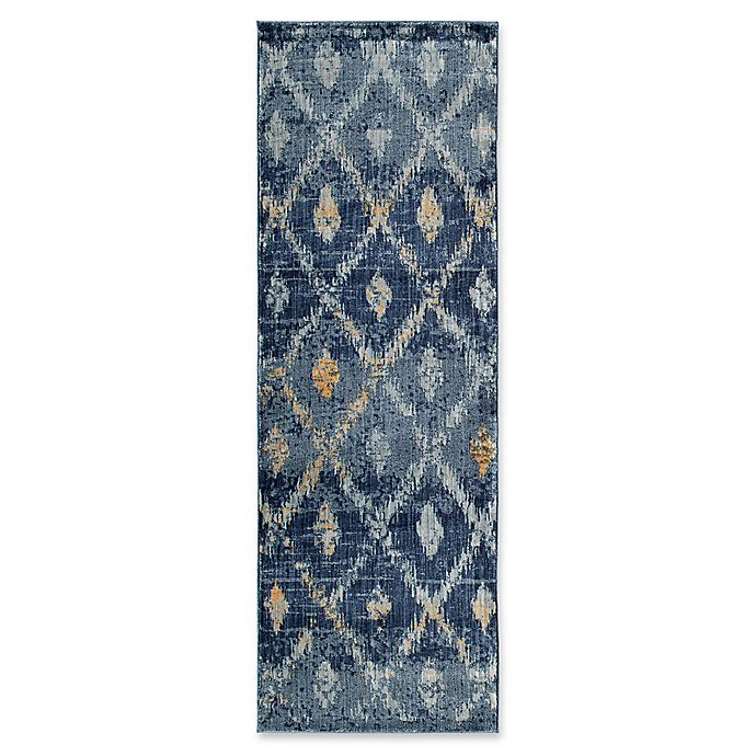 Alternate image 1 for Kaleen TIziano Diamond Repeat 2'7 x 7'6 Runner in Denim