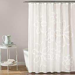 Lush Décor Ruffle Flower Shower Curtain in White