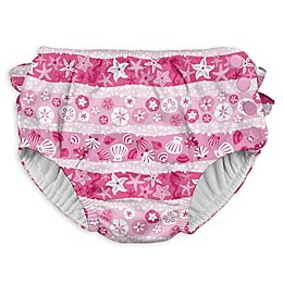 i play.® Stripe Shell Ruffle Snap Swim Diaper in Pink