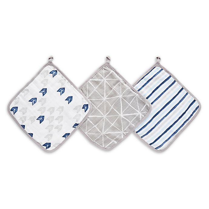 Alternate image 1 for aden + anais™ essentials 3-Pack Denim Wash Washcloths in Grey/Blue