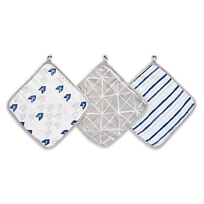 aden® by aden + anais® 3-Pack Denim Wash Washcloths in Grey/Blue