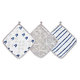 aden + anais™ essentials 3-Pack Denim Wash Washcloths in Grey/Blue