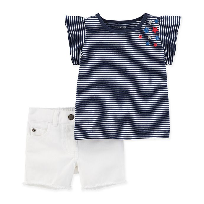 Alternate image 1 for carter's® 2-Piece Tunic Shirt and Short Set in Navy