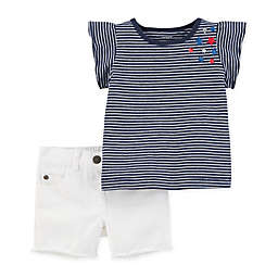 carter's® 2-Piece Tunic Shirt and Short Set in Navy