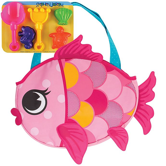 Alternate image 1 for Stephen Joseph® Fish Beach Tote in Pink