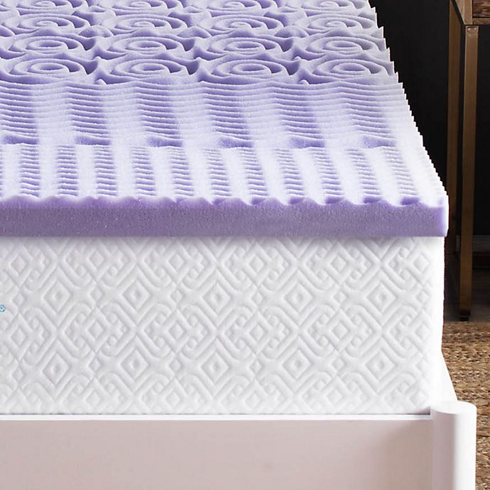 Alternate image 1 for Lucid 2-Inch 5-Zone Lavender-Infused Memory Foam Mattress Topper