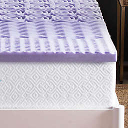 Lucid 2-Inch 5-Zone Lavender-Infused Memory Foam Queen Mattress Topper in Purple