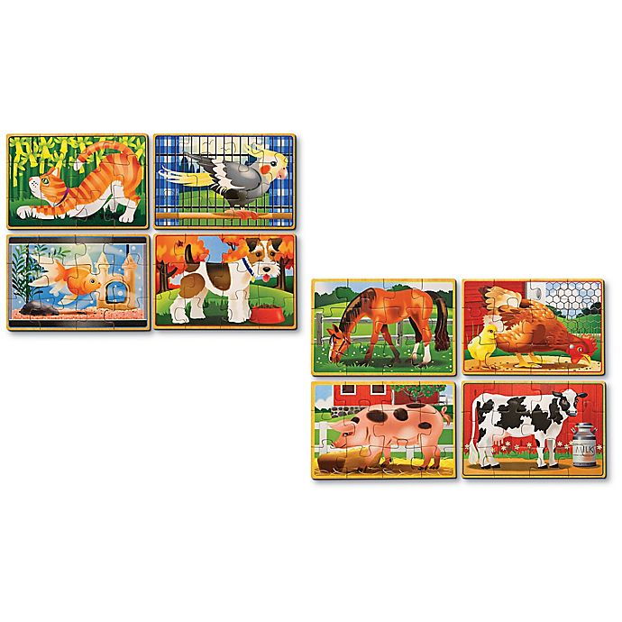Alternate image 1 for Melissa & Doug® Pets & Farm Animals Puzzles in a Box (Set of 2)