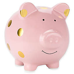 Pearhead™ Large Ceramic Polka Dot Piggy Bank in Pink/Gold