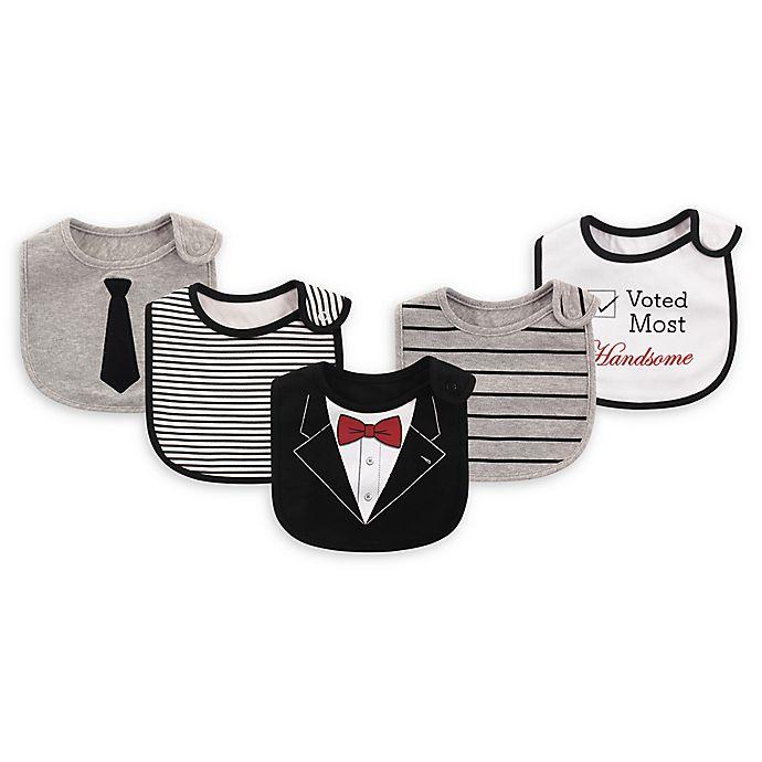 Alternate image 1 for Baby Vision® Little Treasures 5-Pack Tux Bibs in Black