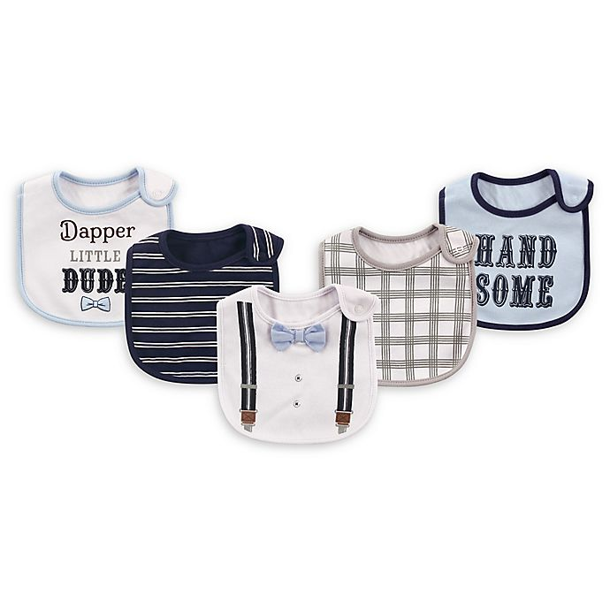 Alternate image 1 for Baby Vision® Little Treasures 5-Pack Dapper Dude Bibs in White