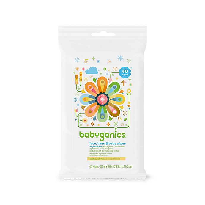 Alternate image 1 for Babyganics® 40-Count Fragrance-Free Face, Hand & Baby Wipes