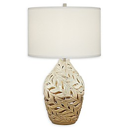 Pacific Coast® Lighting Twisted Leaves Ceramic Table Lamp in Beige
