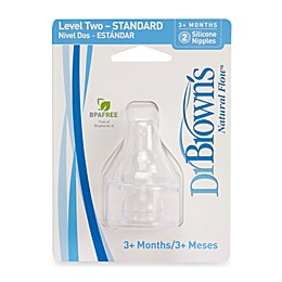 Dr. Brown's Natural Flow® Level 2 Silicone Baby Bottle Nipples (2-Pack)