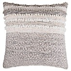 Wool Blend Square Throw European Pillow in Grey/Cream