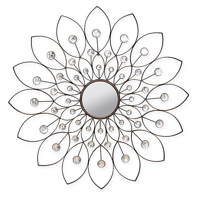 Alternate image 1 for Stratton Home Décor 34-Inch Round Decorative Flower Wall Mirror in Bronze