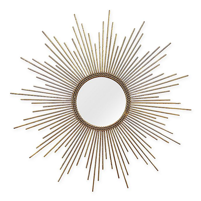 Alternate image 1 for Stratton Home Décor 26-Inch Round Andrea Wall Mirror in Gold