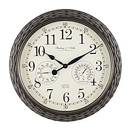 Indoor/Outdoor Faux Rattan Wall Clock with Thermometer in Grey
