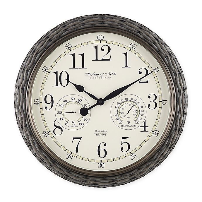 Alternate image 1 for Indoor/Outdoor Faux Rattan Wall Clock with Thermometer in Grey